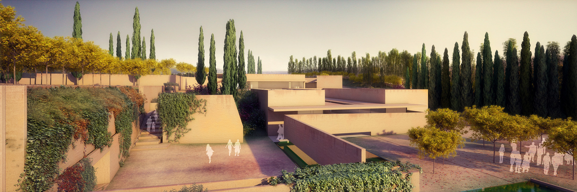"Álvaro Siza + Juan Domingo Santos Design ""New Gate of Alhambra"", Alhambra Atrium I Ivy Courtyard (Northwest Landscape View). Image © Alvaro Siza Vieira + Juan Domingo Santos; Rendering by LT Studios"