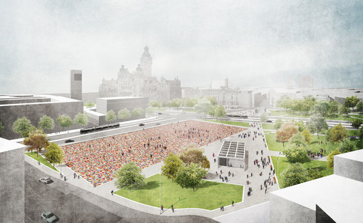 The design for the Leipzig Memorial, by Marc Weiss and Martin de Mattia. Image © M+M / ANNABAU