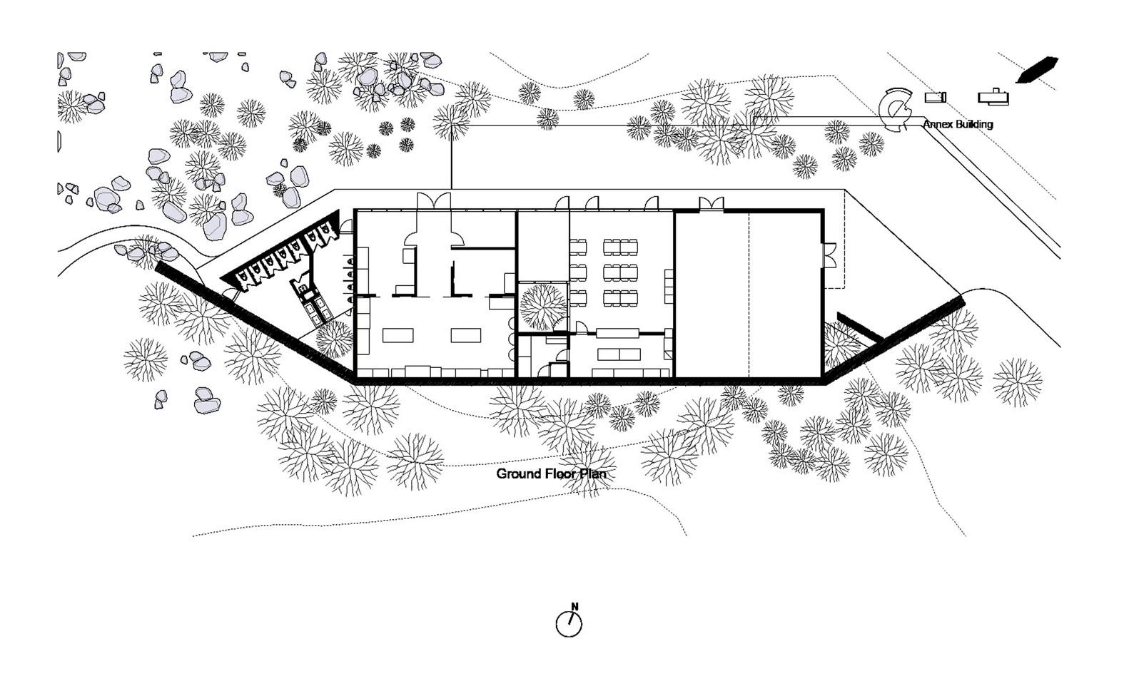 Osulloc Tea House Pavilions,Ground FLoor Plan Innisfree Annex
