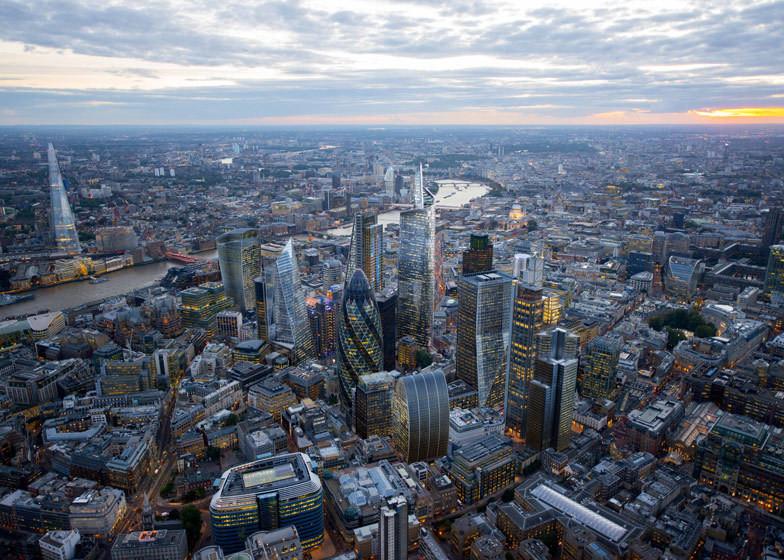 O iminente boom de arranha-céus em Londres, Centro de Londres como será quando todos os atuais edifícios em construção forem concluídos.. Cortesia de CPAT / Hayes Davidson / Jason Hawkes