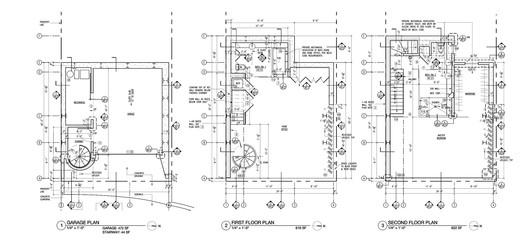 Floor Plans: Garage, First, Second
