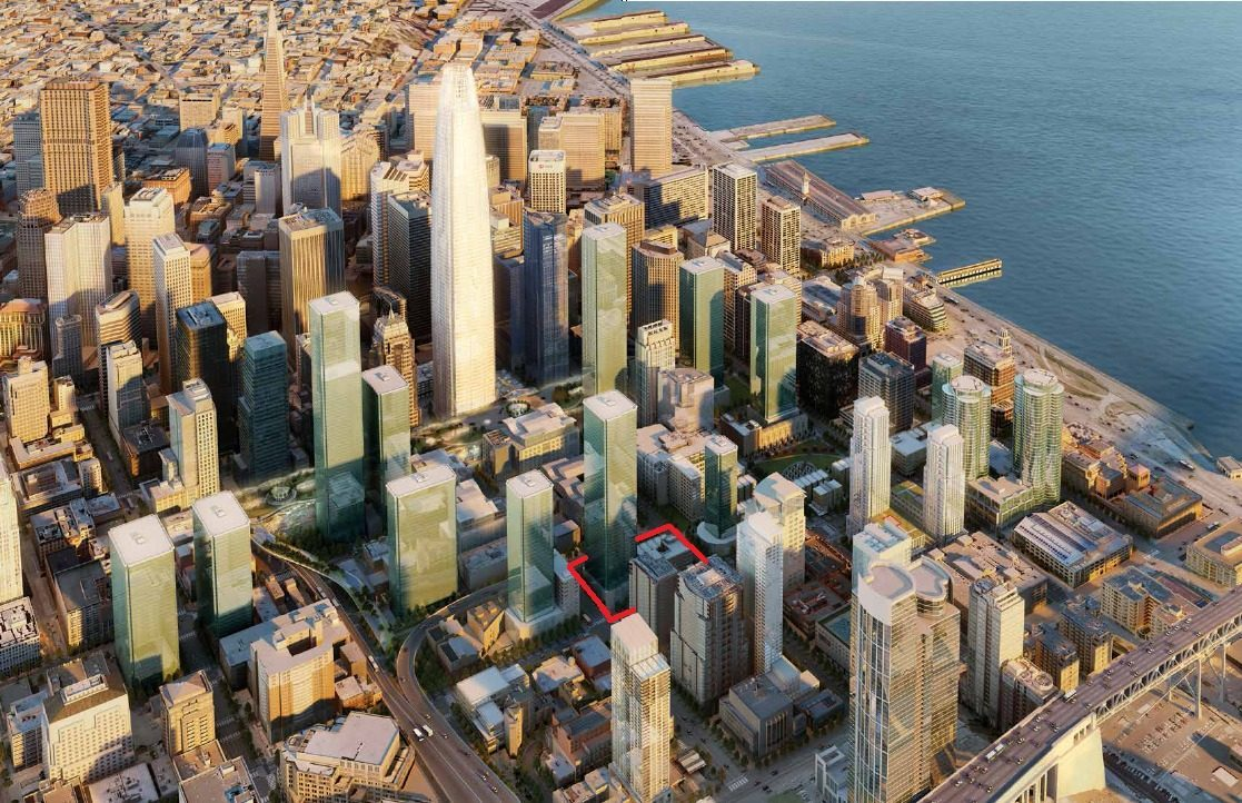 OMA to Design 550-Foot Residential Tower in San Francisco, Site Image. Via Curbed
