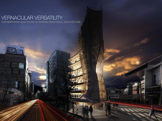"""Primer Lugar: """"Vernacular Versatility"""" / Yong Ju Lee (Estados Unidos). Imagen Cortesía de eVolo"""