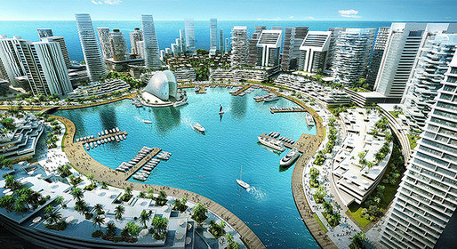 Why Africa's Cities Need African Planning, Design concept for Eko Atlantic City. Image Courtesy of archinect.com
