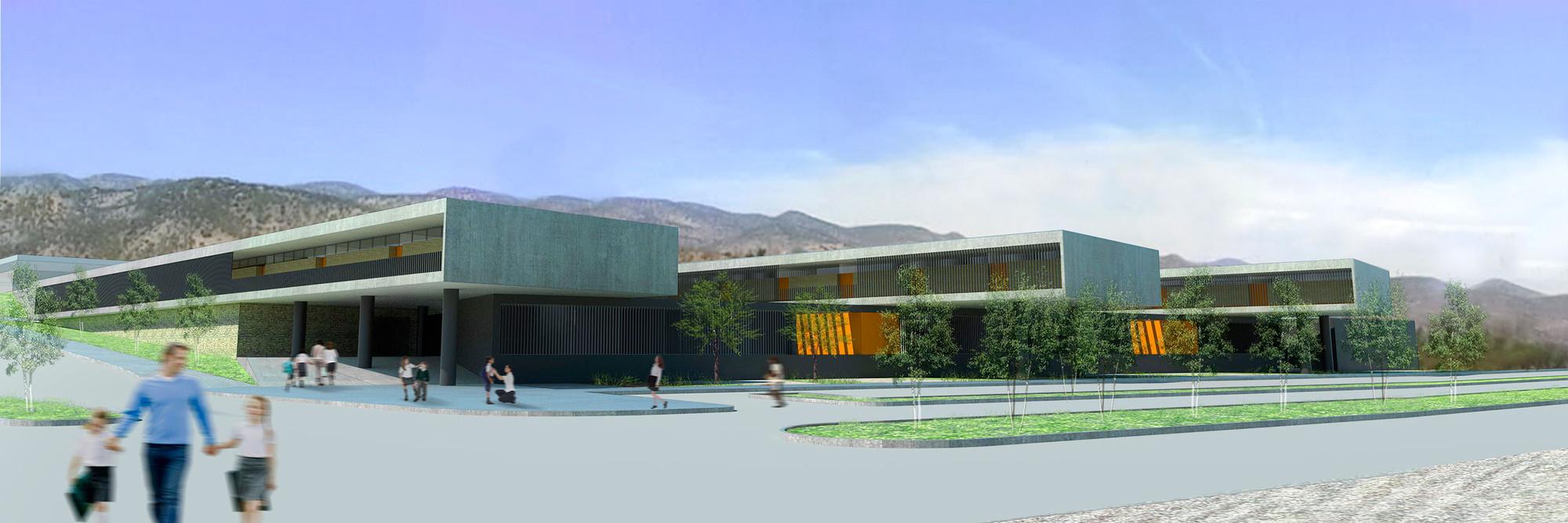 Tercer Lugar Concurso Liceo Alemán de Chicureo: Iglesis Prat Arquitectos + Meruane Arquitectos, Courtesy of Iglesis Prat Arquitectos y Meruane Arquitectos