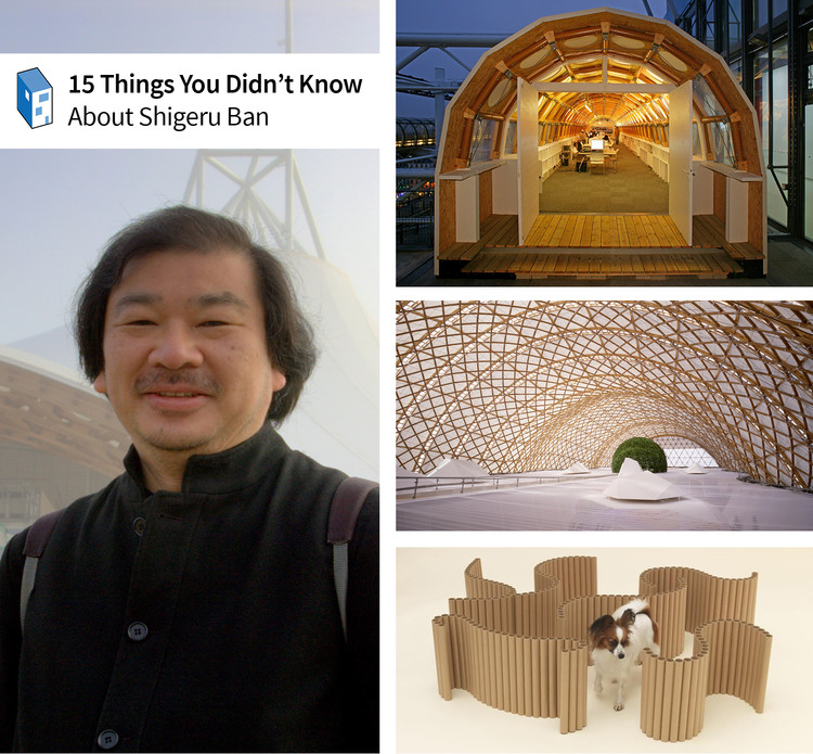 15 Things You Didn't Know About Shigeru Ban, Left, Image of Shigeru Ban © Flickr User VisiOkrOniK. Right, from top to bottom, Ban's Temporary Paper Studio (© Didier Boy de la Tour), the Japan Pavilion for the Hanover Exhibition 2000 (© Hiroyuki Hirai), and his design for 'Architecture for Dogs' (© Hiroshi Yoda). Used under <a href='https://creativecommons.org/licenses/by-sa/2.0/'>Creative Commons</a>