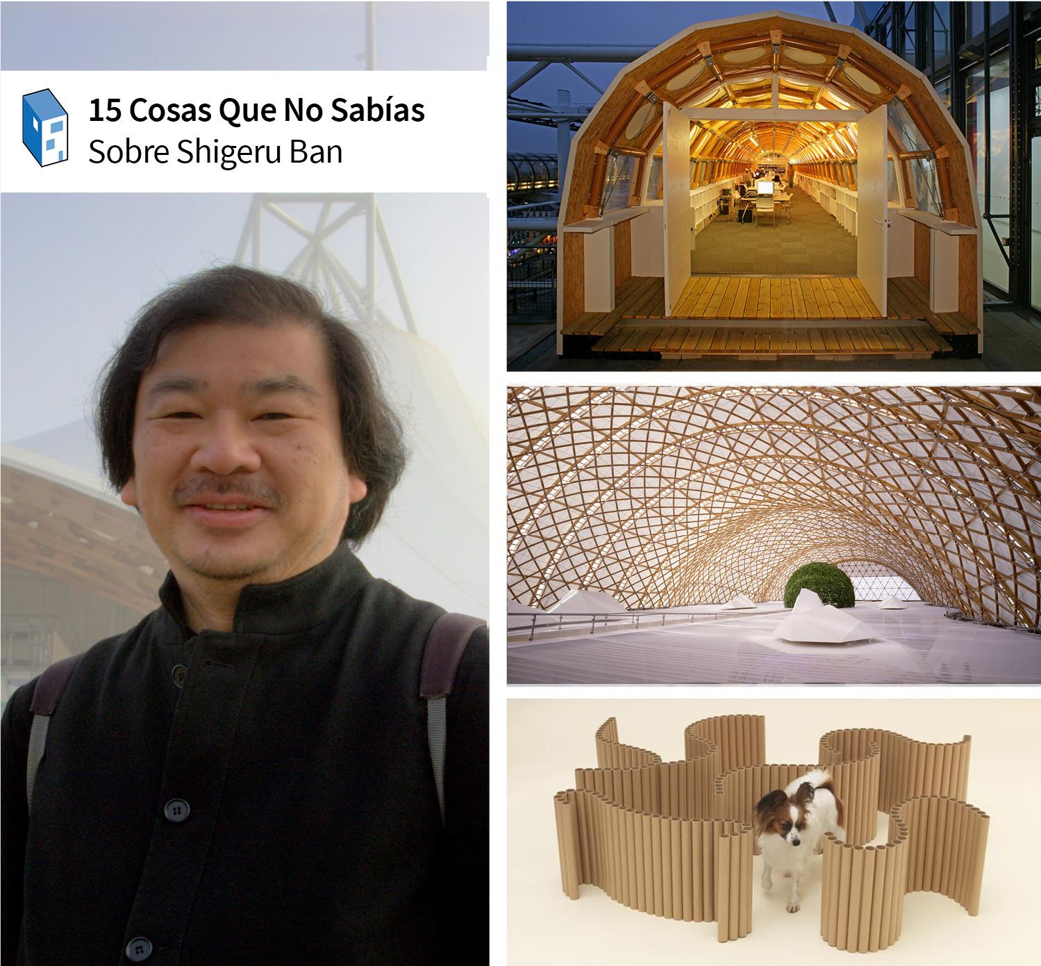 15 Cosas que No Sabías de Shigeru Ban, A la izquierda, Shigeru Ban (imagen © Usuario de Flickr VisiOkrOniK). A la derecha, de arriba hacia abajo, el estudio temporario de papel (© Didier Boy de la Tour), el Pabellon Japonés del Expo Hanover 2000 (© Hiroyuki Hirai), y el diseño para 'Arquitectura para Perros' (© Hiroshi Yoda). Used under <a href='https://creativecommons.org/licenses/by-sa/2.0/'>Creative Commons</a>