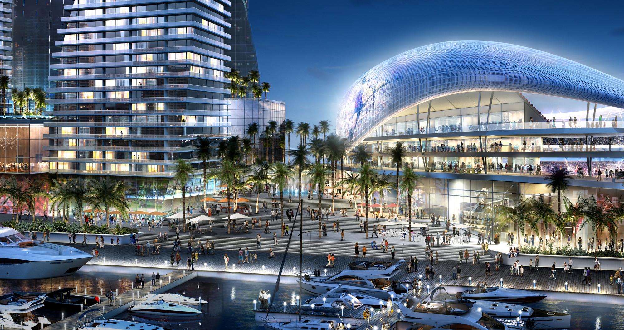 Arquitectonica Proposes Beckham MLS Stadium for Port of Miami, © 360 Architecture and Arquitectonica