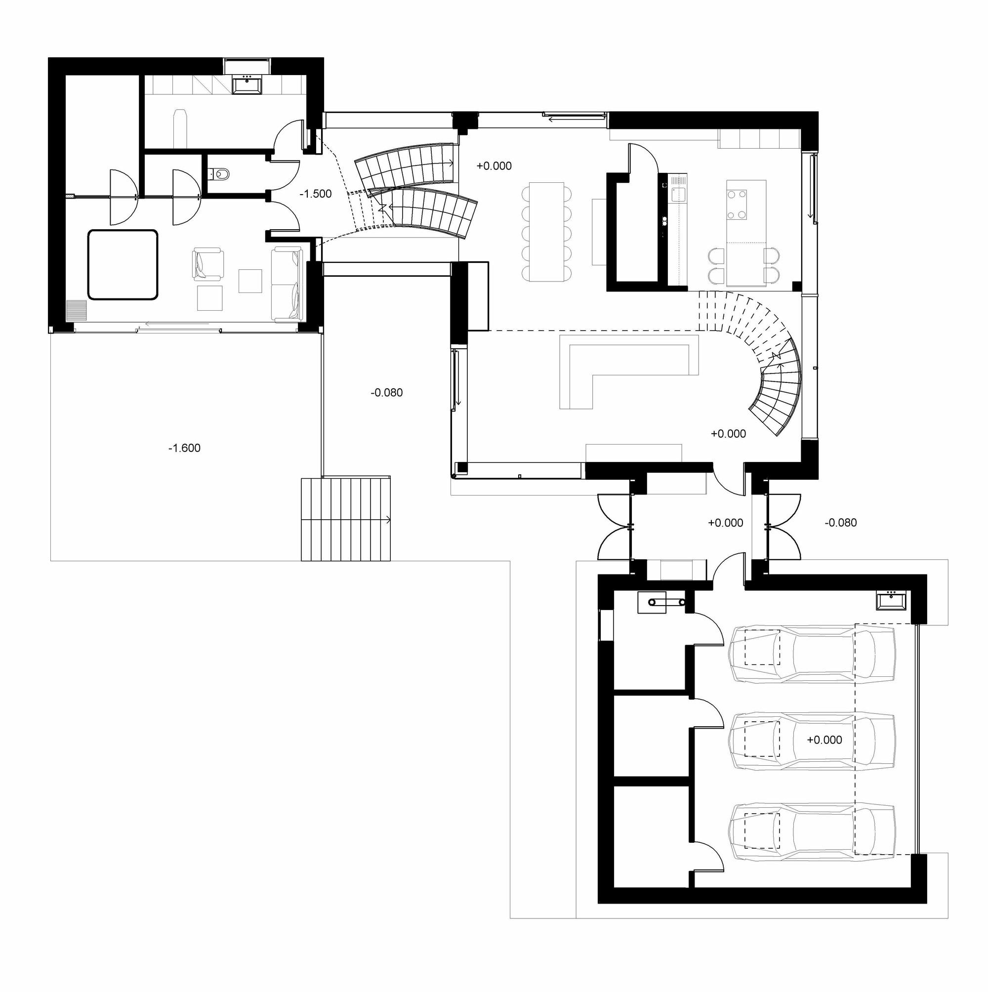 Parallelepiped rectangle house devyni architektai for Rectangular plot house plan