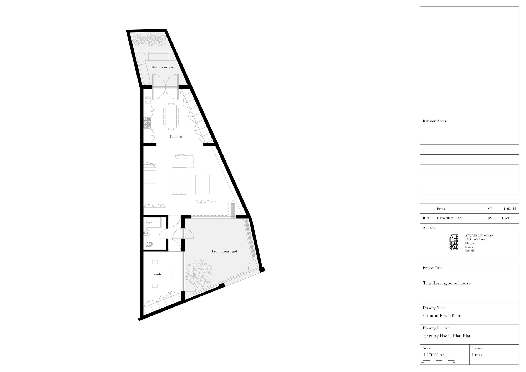 Gallery of the herringbone house atelier chanchan 14 for Pentagon shaped house plans