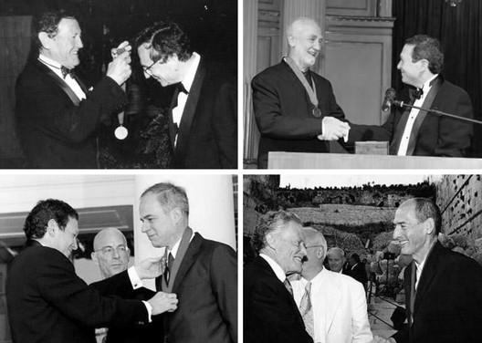 Architecture's Highest Honor. Top Left to Right: Rafael Moneo (1996) Image © Lee Salem; PeterZumthor (2009); Jacques Herzog & Pierre de Meuron (2001) Image © Rex Stucky; Rem Koolhaas (2000) Image © Zoog.