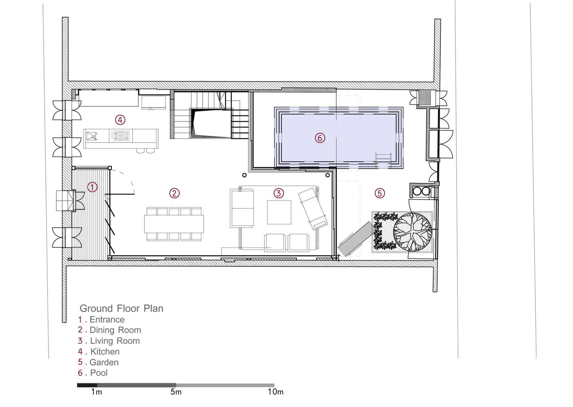 V House,Ground Floor Plan