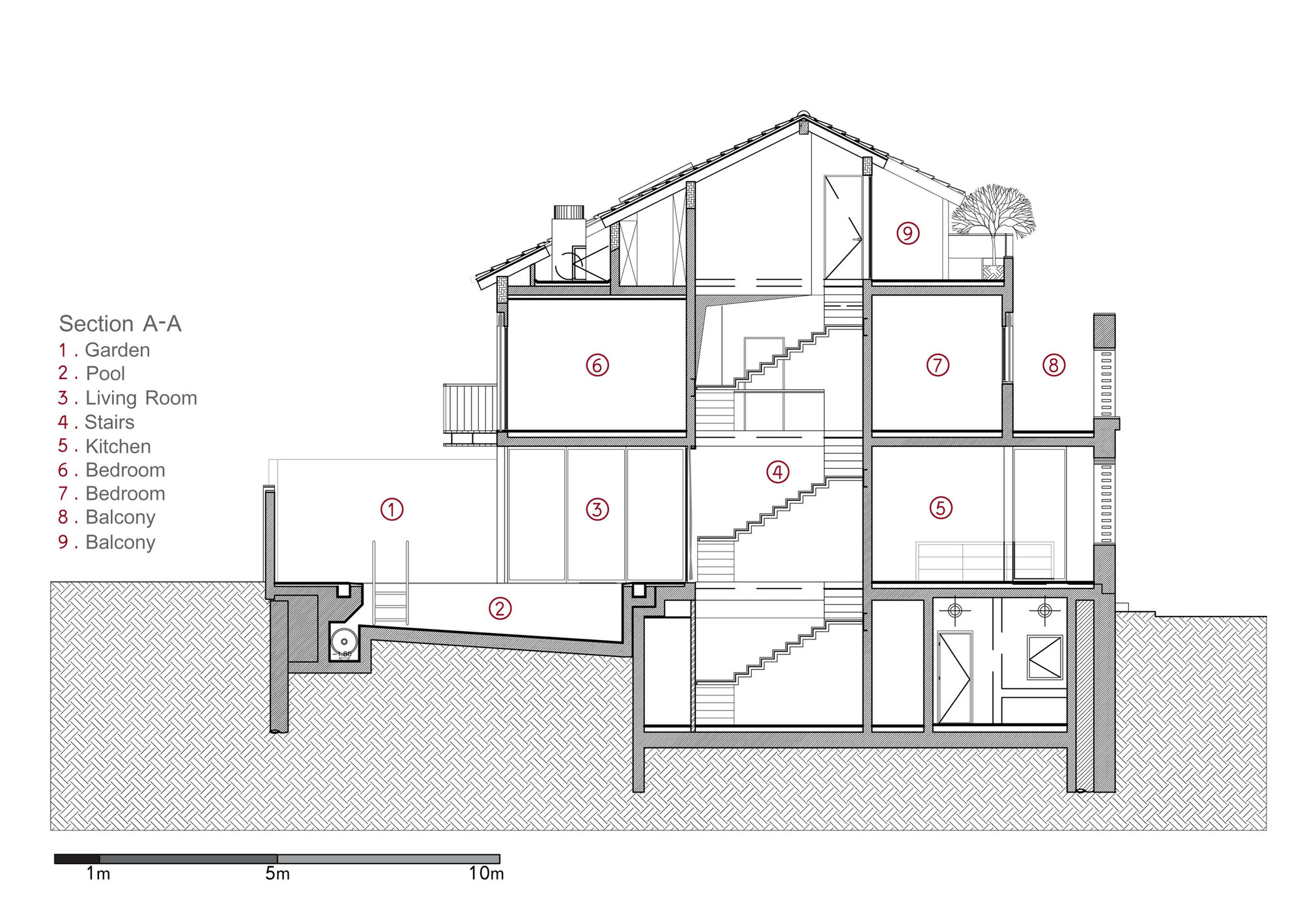 V House Paz Gersh Architects Section Aa