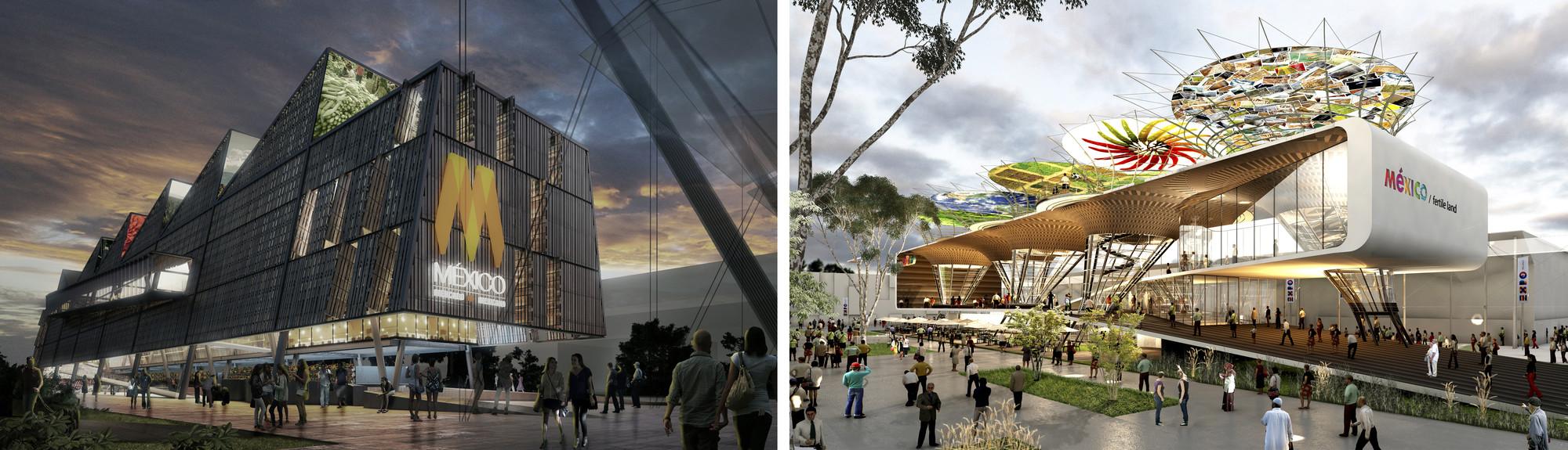Segundo y tercer lugar del Pabellón de México para la Expo Milán 2015 / Gaeta Springall Arquitectos y Broissin Architects, En imagen, a la izquierda proyecto de Gaeta Springall Arquitectos. A la derecha proyecto de BroissinArchitects.
