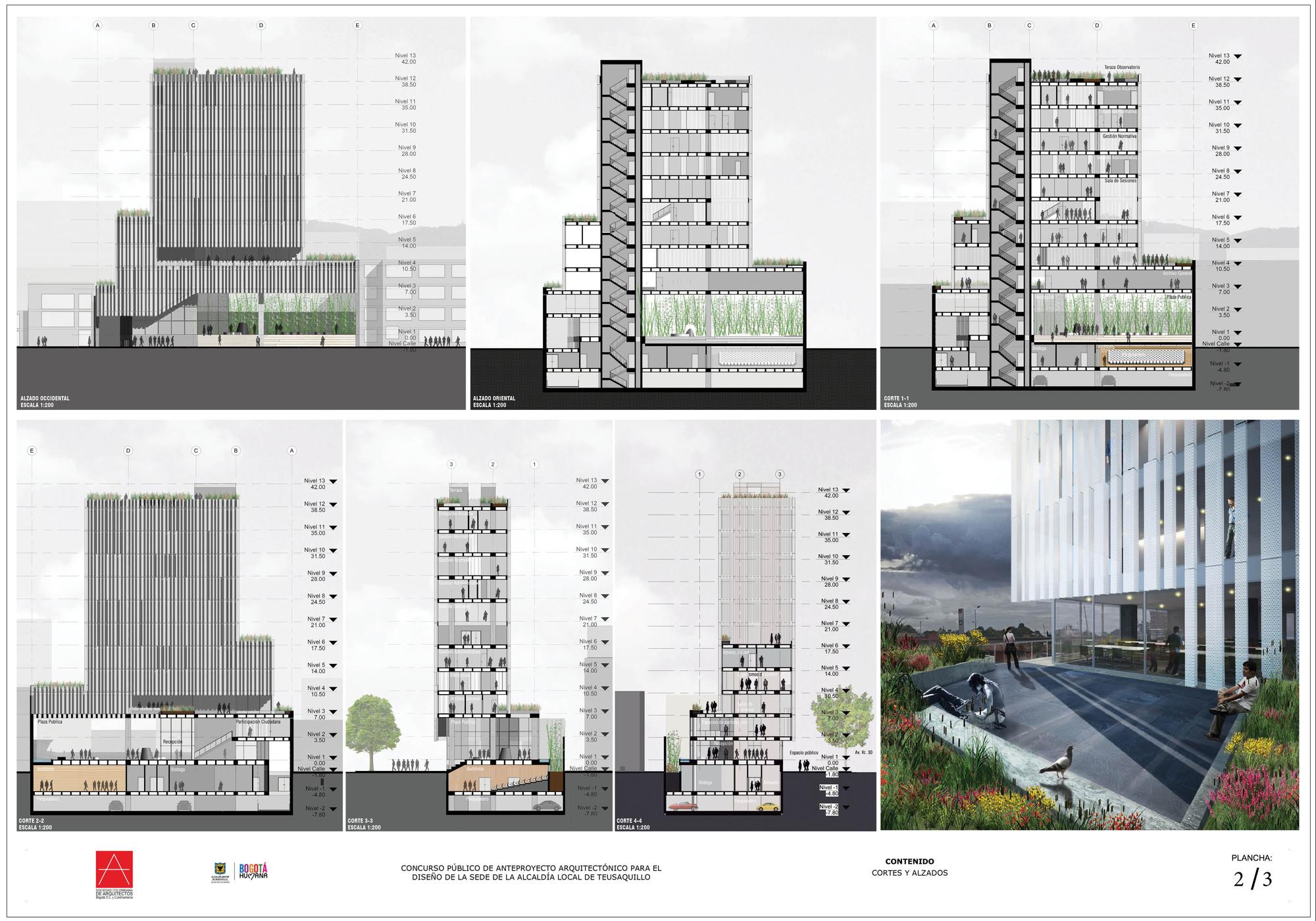 Galer a de segundo lugar concurso p blico de anteproyecto for Representacion grafica de planos arquitectonicos