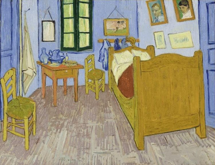 Instalação interativa recria obra de Van Gogh em tamanho real, no CCBM em Juiz de Fora, O quarto do artista em Arles - 1889. Image Cortesia de Musée d'Orsay