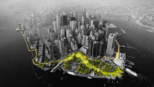 """Render for The BIG U, """"The Harbor Berm,"""" an elevated path through the park. Image Courtesy of rebuildbydesign.org"""