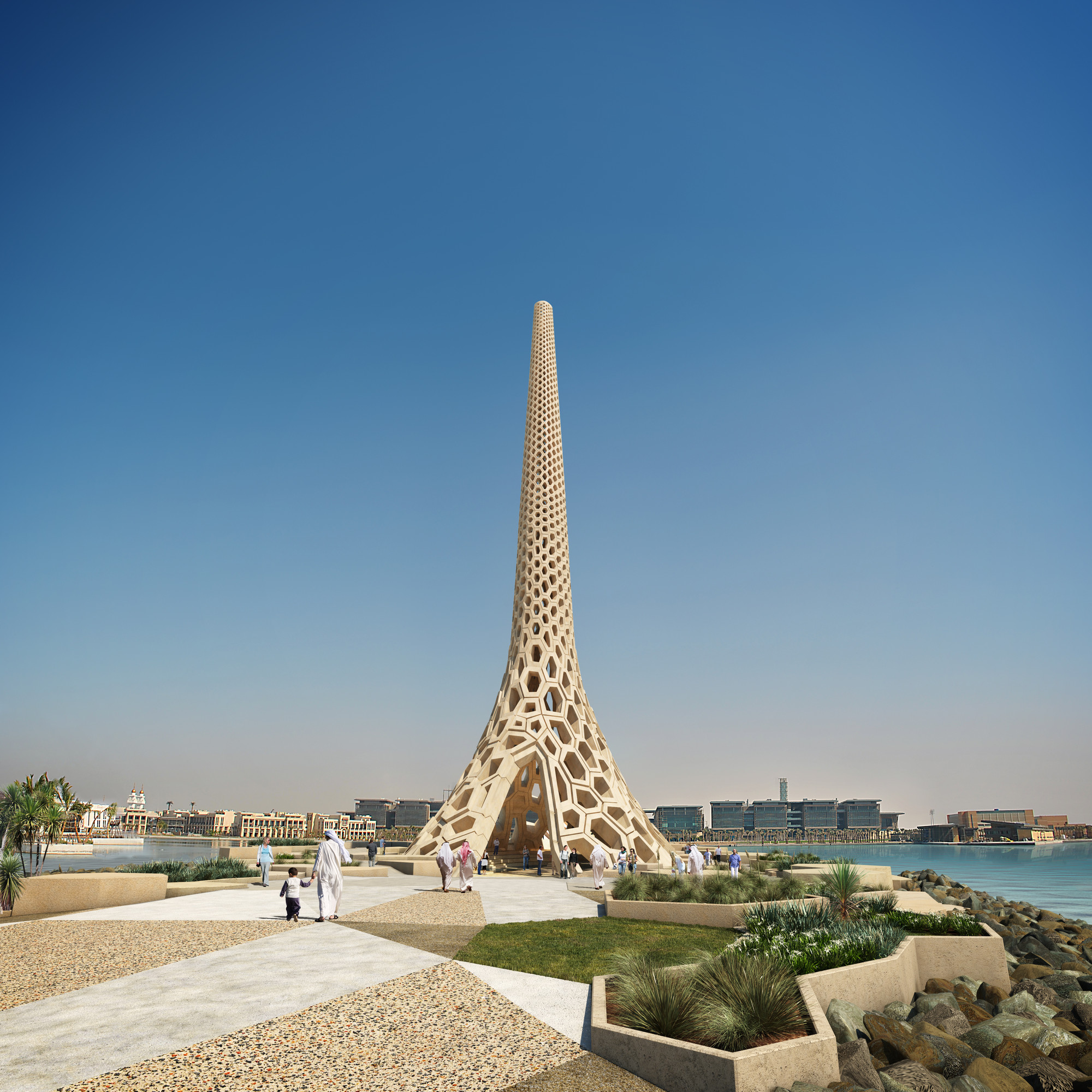Arte y Arquitectura: Breakwater Beacon, 60 metros de hormigón blanco por UAP Design Studio, Courtesy of UAP