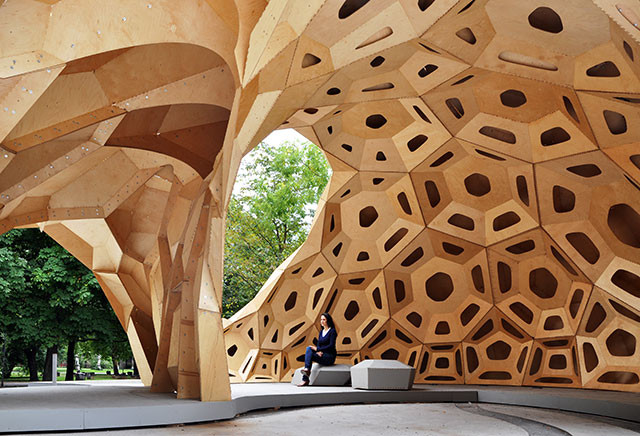 The Depreciating Value of Form in the Age of Digital Fabrication, The ICD / ITKE Research Pavilion 2011, demonstrating an example of a Voronoi diagram at work. Image © ICD / ITKE University of Stuttgart