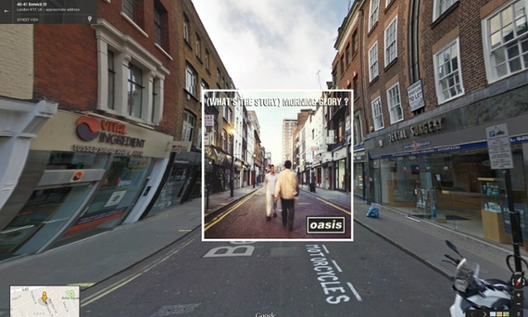 Capas de álbums clássicos no Google Street View, (What's the Story) Morning Glory / Oasis. 1995 - Berwick Street em Londres. Imagem © The Guardian