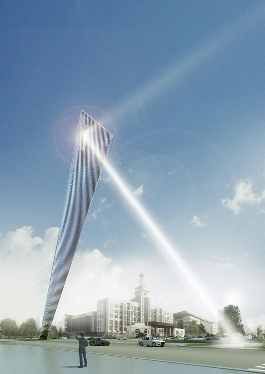 Rafael de La-Hoz revela el diseño de un Monumento para Tianjin, Día 1. Imagen Cortesía de Rafael de La-Hoz