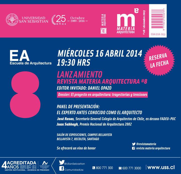 Lanzamiento revista Materia Arquitectura #8, Courtesy of Revista Materia Arquitectura