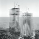 Mies van der Rohe, 860–880 Lake Shore Drive Apartment Buildings, Chicago, 1948–51; under construction, 1950–1. Image Courtesy of Chicago History Museum
