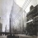 Mies van der Rohe, projeto Friedrichstrasse Skyscraper; Berlim, 1921-2, versão opaca da fotomontagem. Imagem Cortesia de Bauhaus-Archiv Berlin, Photo: Markus Hawlik