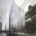 Mies van der Rohe, Friedrichstrasse Skyscraper project; Berlin, 1921-2, opaque version of photomontage. Image Courtesy of Bauhaus-Archiv Berlin, Photo: Markus Hawlik