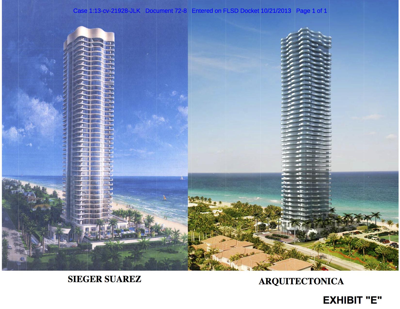 O que faz de uma cópia uma cópia? O caso dos direitos autorais na arquitetura, Cortesia de Mitch Tuchman. Fonte das Imagens: Tribunal Distrital dos EUA do Distrito do Sul da Flórida, Divisão de Miami
