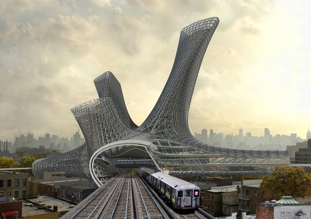 AMLGM Proposes to Top New York Transportation Hubs with Sprawling Tower, Train View. Image © AMLGM