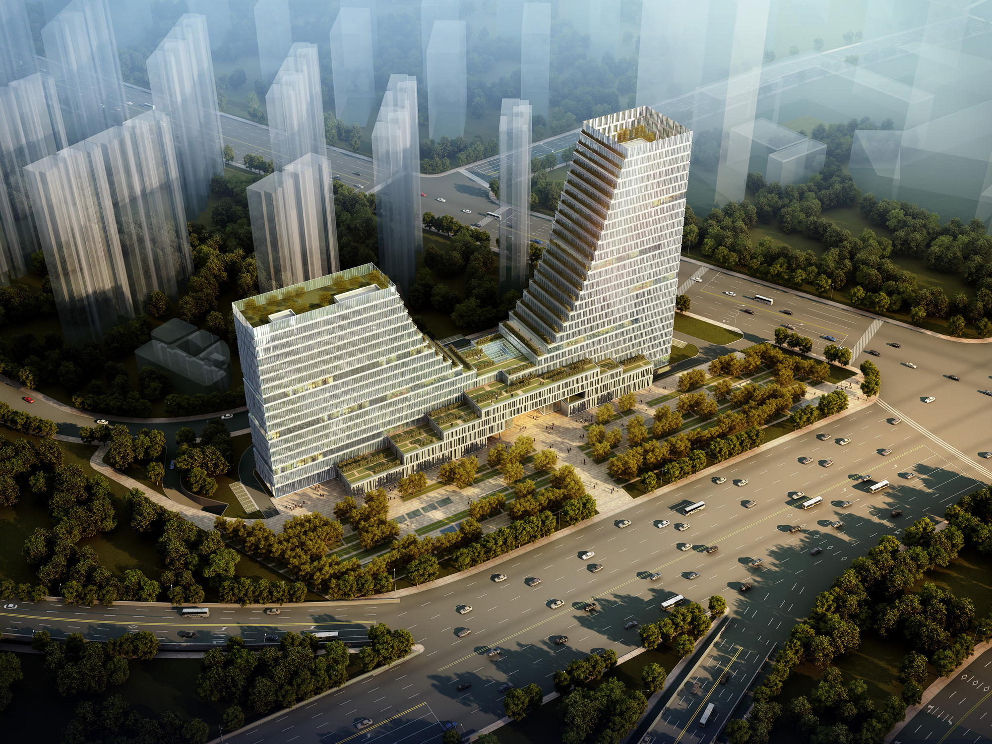 Construction Begins on UDG China's Nanjing Office Tower, Aerial. Image © Luxigon