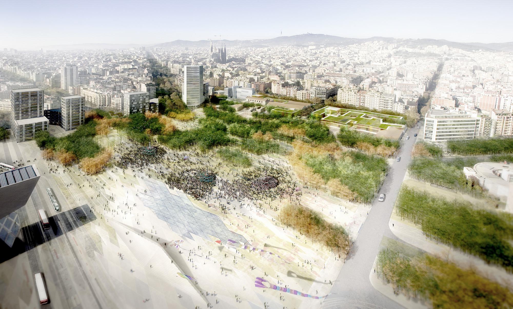 Mención Especial Concurso Plaza de les Glòries / Barcelona, España., Vista General. Image Courtesy of UTE Fuses Viader + Perea + Mansilla + Desvign