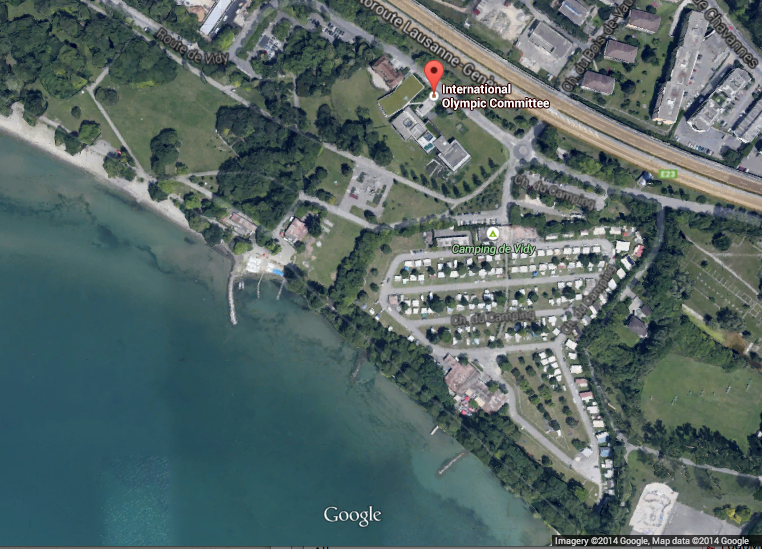 3XN Beats Out OMA, Toyo Ito, Others to Design Olympic Headquarters in Lausanne, Screenshot of the proposed site of the new IOC Headquarters in Lausanne, Switzerland.. Image © Google Earth