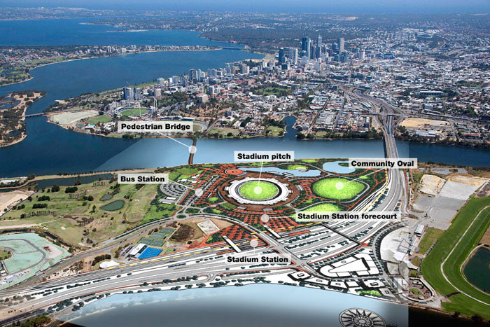 HASSELL, COX Architecture, HKS To Design Australia's Largest Sporting Precinct, Burswood Peninsula Master Plan. Image Courtesy of Government of Western Australia