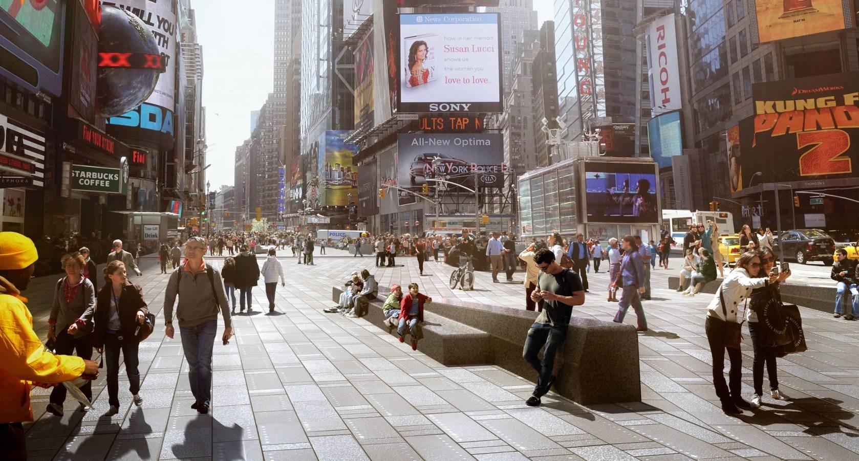 Pedestrianização da Times Square deve ser concluída em 2016, © Snøhetta