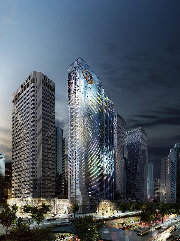 Fachada Receptiva, para remodelación de torre de oficinas en Seúl, UNStudio