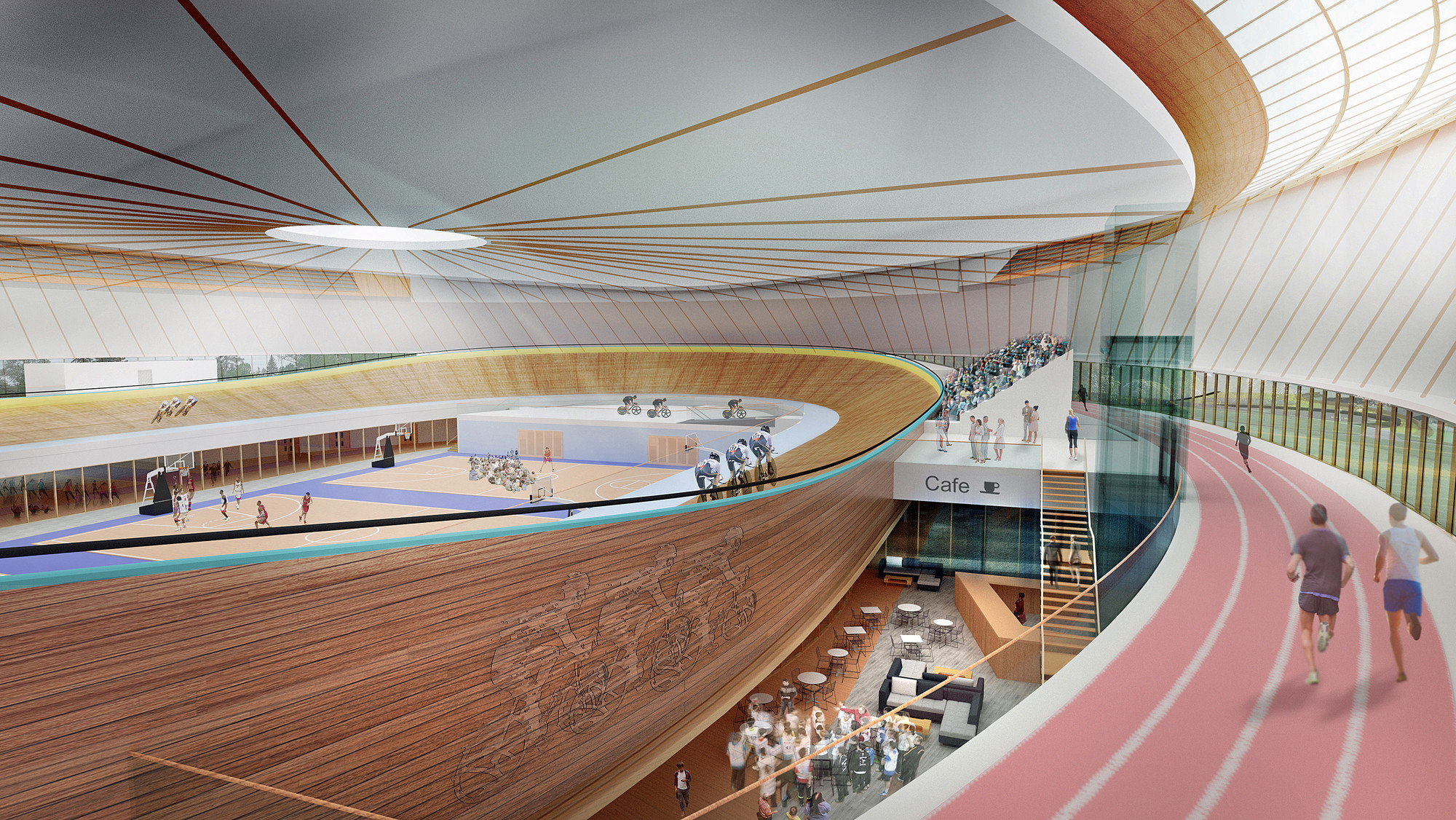 FaulknerBrowns Propose Community Velodrome Scheme in Canada, Interior Visualisation. Image Courtesy of FaulknerBrowns Architects