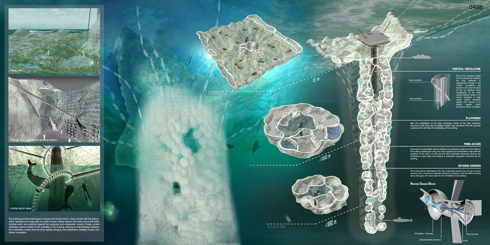 """Submarine Lighthouse"": proponen reutilizar plataformas petrolíferas como rascacielos submarinos, Lámina. Image Courtesy of Pablo Schaelchli y Fabián Cordero"