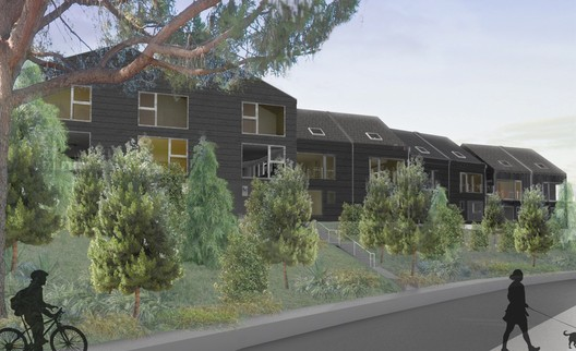 External render of the development. Image Courtesy of Bestor Architecture