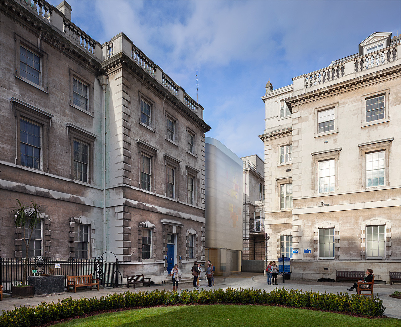 Hopkins Architects Maggie's Centre Gets Planning Permission Over Rival Holl Scheme, Steven Holl's Design. The Great Hall and Archive Building is on the left. Image Courtesy of Steven Holl Architects