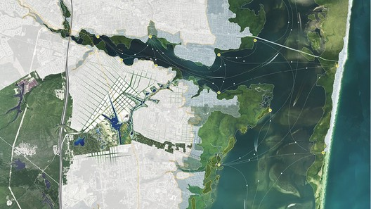 An aerial rendering from the Sasaki/Rutgers/Arup team shows Barnegat Bay, New Jersey. A threatened barrier island is visible on the right, and in the middle is a redeveloped area where people could, in theory, move. Image Courtesy of The Atlantic Cities