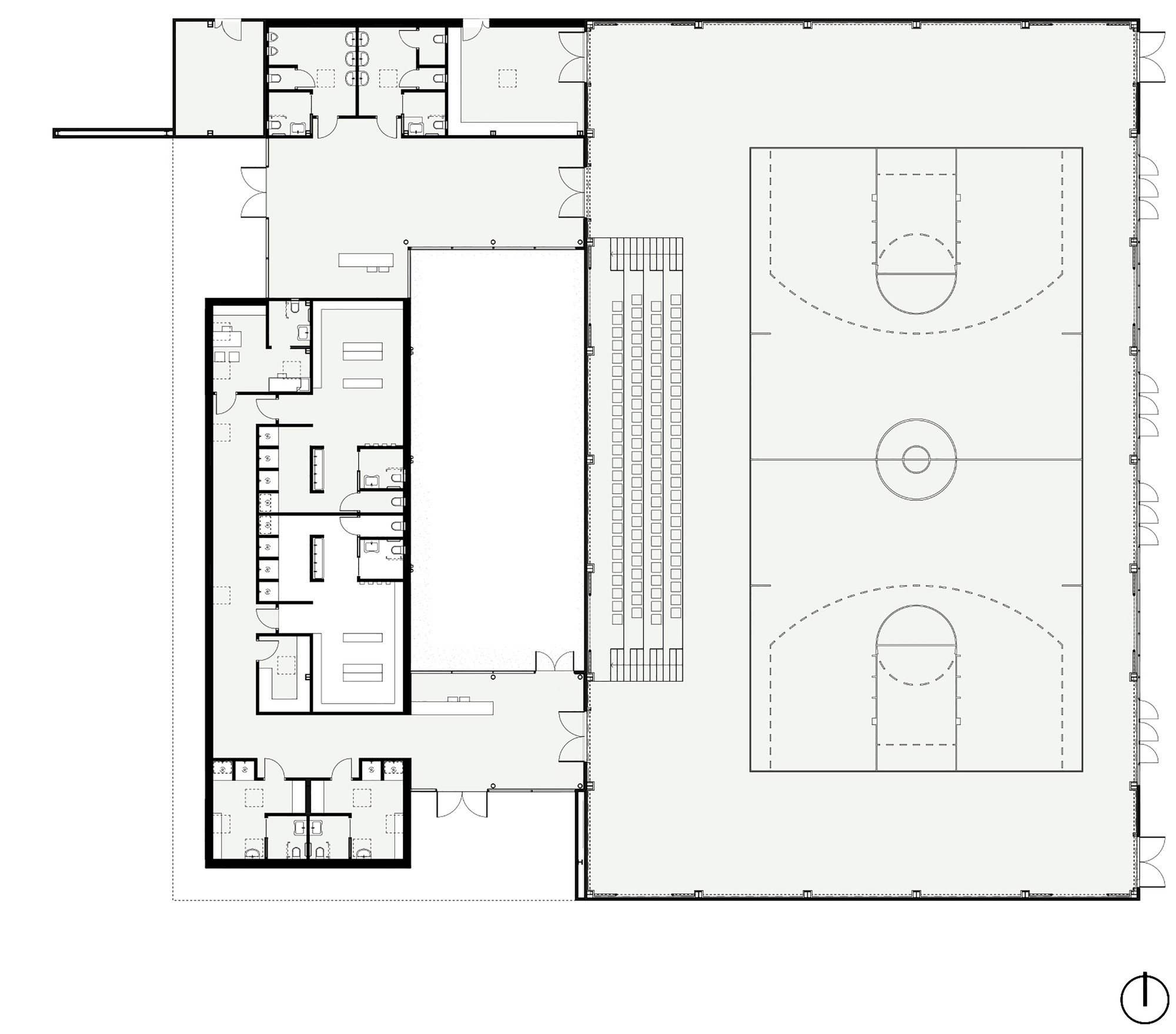 Gallery of temporary school gymnasium mide architetti for Gym floor plan design