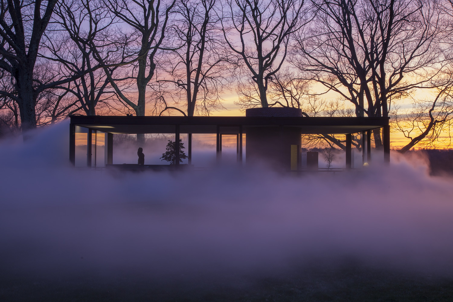 Artist Fujiko Nakaya Shrouds Philip Johnson's Glass House in Fog, © Richard Barnes