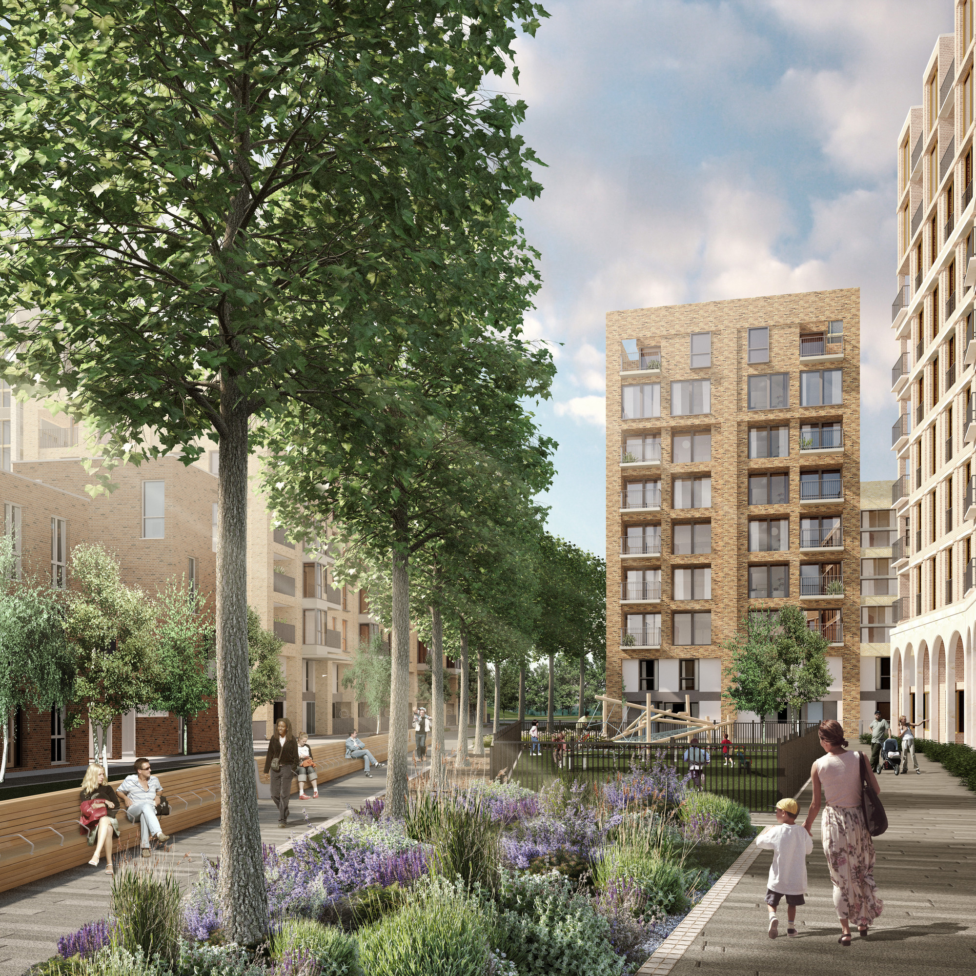 HTA Design to Lead Regeneration of Aylesbury Estate in London, View of the first phase of the development. Image Courtesy of HTA Design