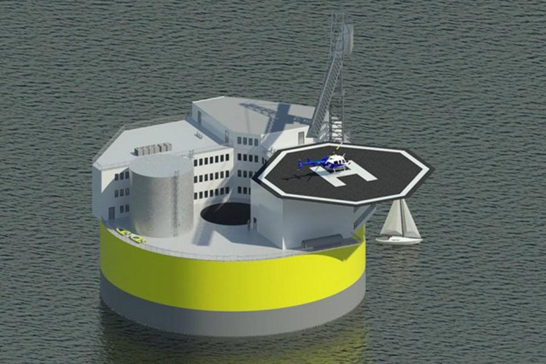 MIT diseña plataforma nuclear flotante en alta mar y resistente a tsunamis, Diseño preliminar de la plataforma nuclear propuesta por MIT. Image © Jake Jurewicz/MIT-NSE