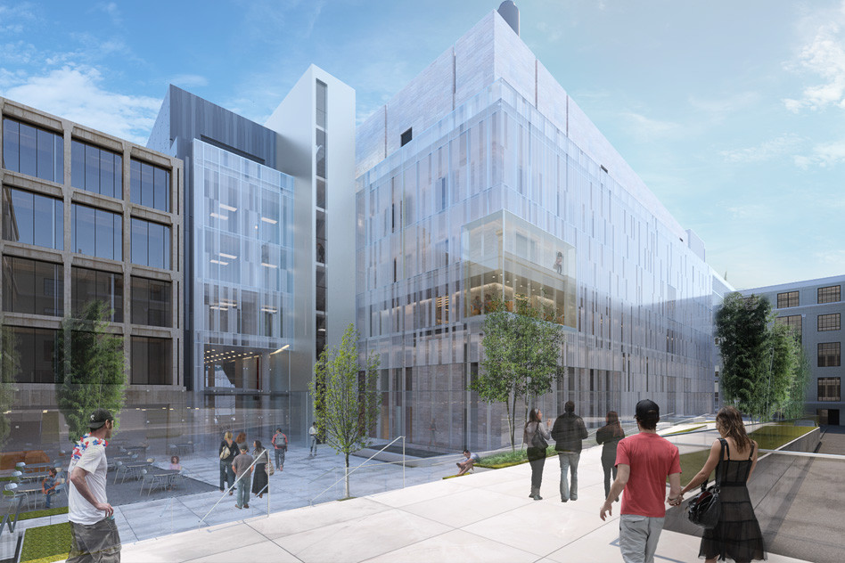 Wilson Architects Tapped to Design MIT Hub for Nanoscale Research, MIT.nano and the courtyard looking northeast from Building 4. Image © Wilson Architects Inc.