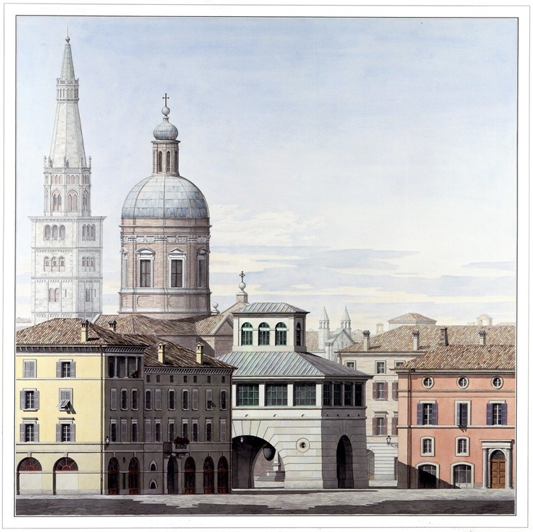 John Simpson to Design New Architecture Building at Notre Dame, Notre Dame Driehaus Prize laureate Pier Carlo Bontempi and Leon Krier's Watercolor of the Piazza Matteotti