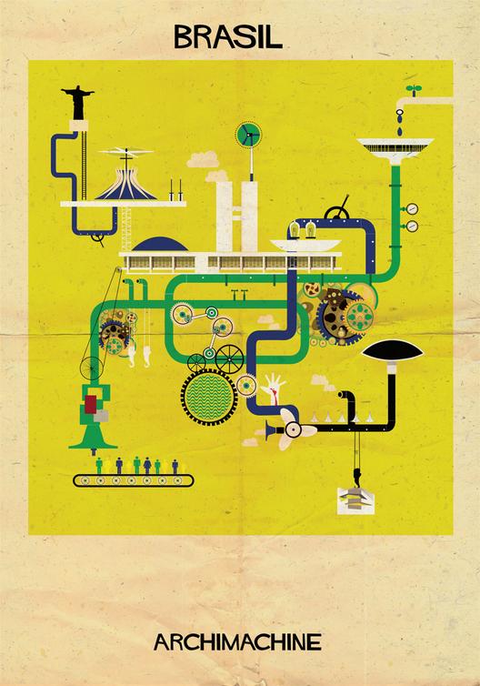 """ARCHIMACHINE: 17 países ilustrados como """"máquinas arquitetônicas"""" , Courtesy of Federico Babina"""