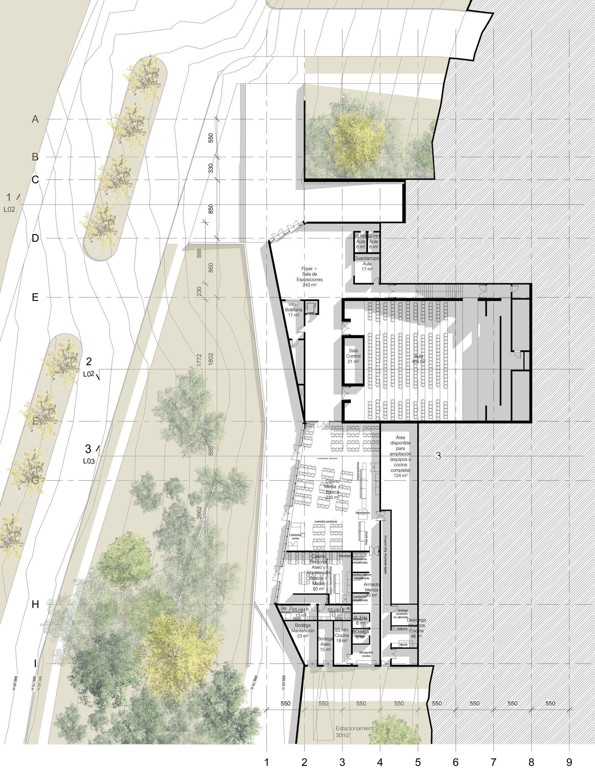 Galer a de segundo lugar concurso liceo alem n de chicureo for Plantas de colegios arquitectura